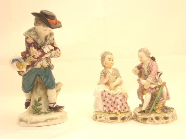 Three Continental Chelsea style figures Circa 1900