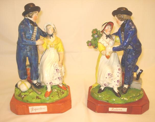 A pair of titled Staffordshire figures Circa 1820