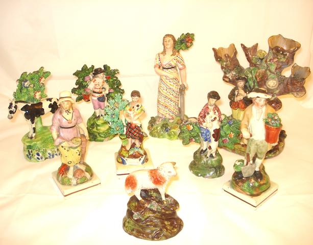 A collection of nine Staffordshire figures Early 19th century