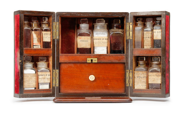 A good mid-Victorian mahogany apothecary's cabinetBearing an ivory label reading 'Prize Medal 1862, For Excellence of Manufacture, SAVORY & MOORE, Chemists to the Queen, London'