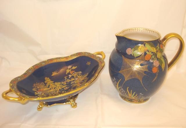 A large Carltonware jug and a Carltonware twin handled dish