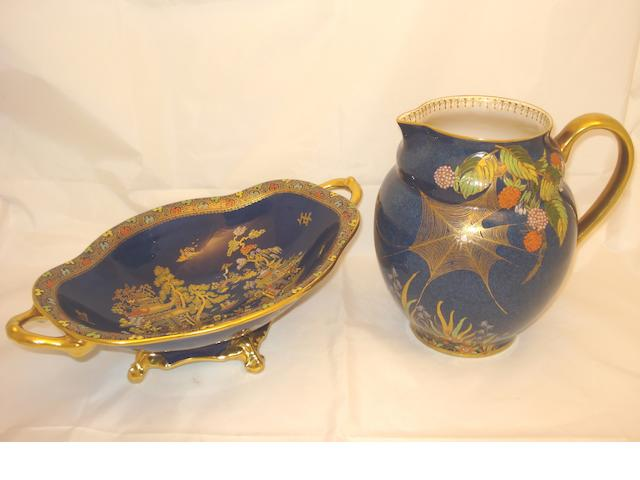 A large Carltonware jug and twin handled dish