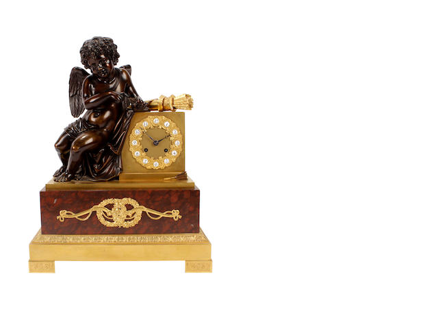 A late 19th century French, Empire style bronze and gilt bronze mantel clock 3