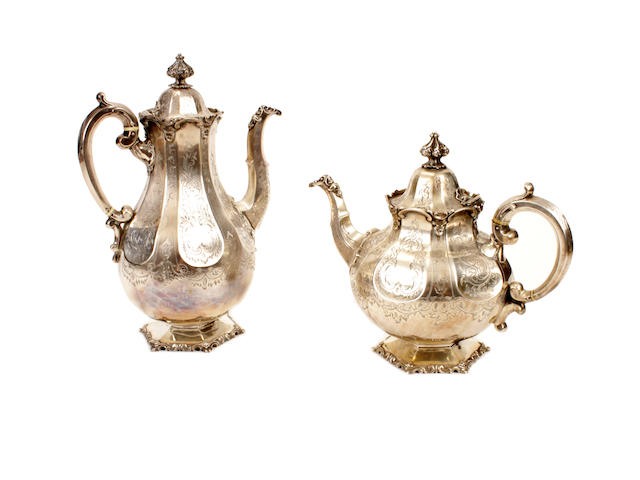 A Victorian silver tea pot and coffee pot by John and George Angell, London 1845-6  (2)