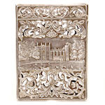 A William IV silver castle top card case by Nathaniel Mills, Birmingham 1836