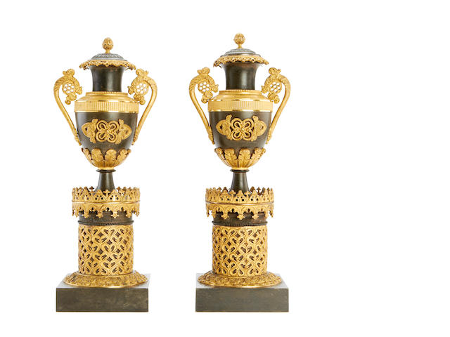 A pair of mid 19th century gilt and patinated bronze cassolettes