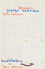 John Lennon: An autographed piece of paper,  May 1968,