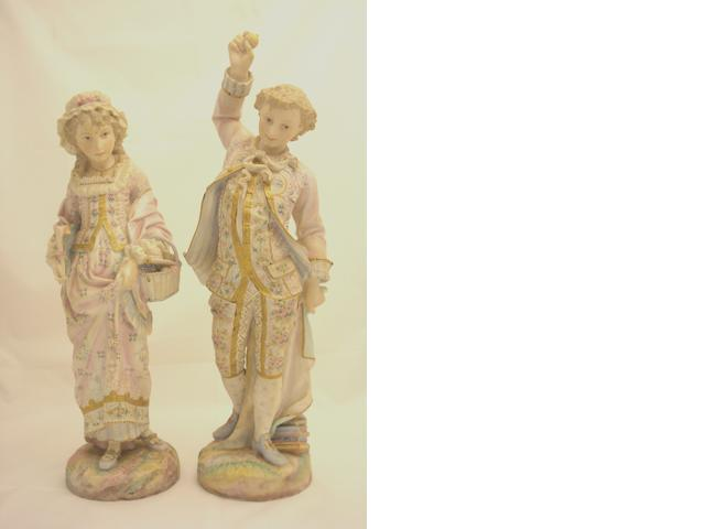 A pair of French polychrome figures Late 19th century