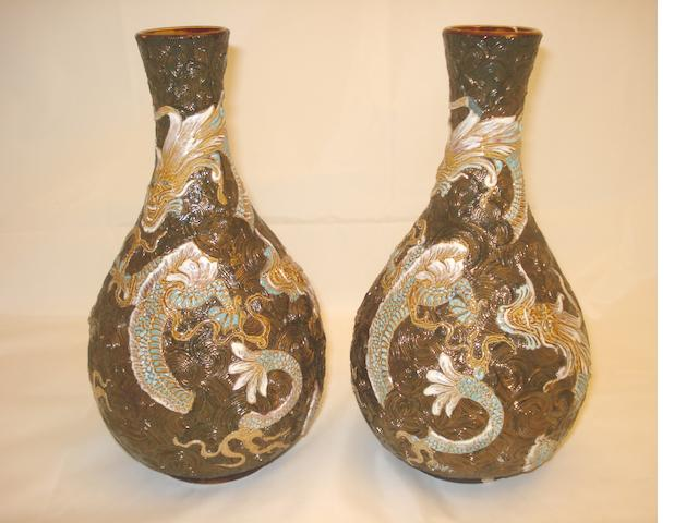 A pair of Doulton Lambeth vases Probably by Bessie Newbury