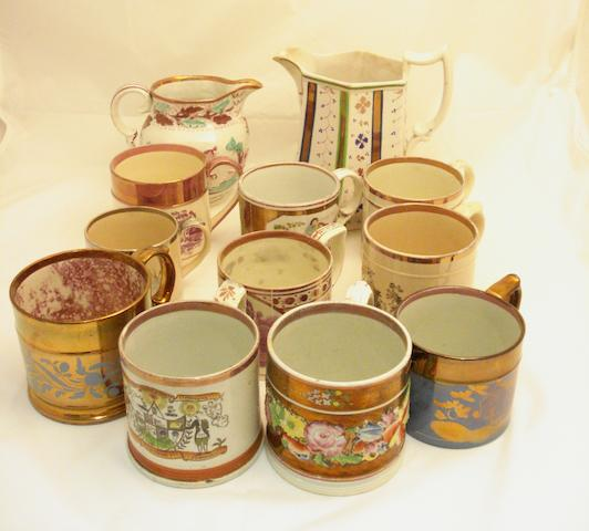A collection of lustreware 19th century