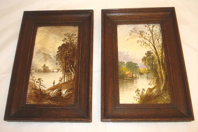A pair of framed Copeland tiles signed W Yale Circa 1900