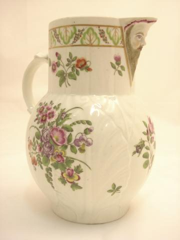 An English cabbage leaf jug Probably Worcester, circa 1800