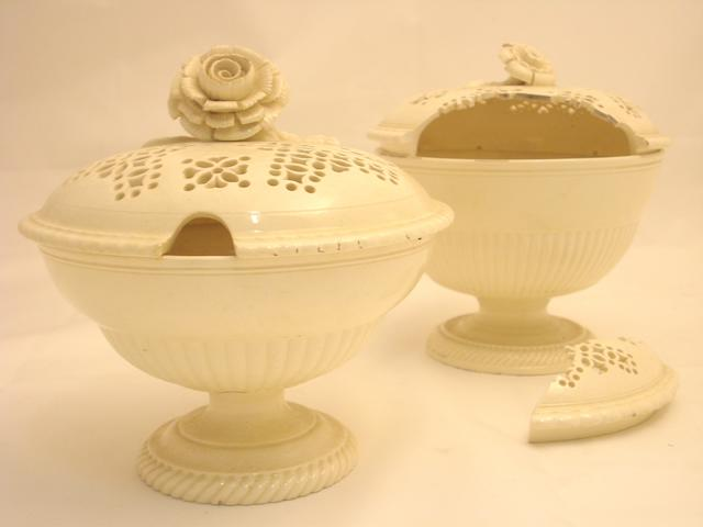 Two Leeds creamware sugar basins with covers Early 19th century