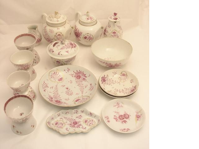 An assocaited part tea set Late 18th century