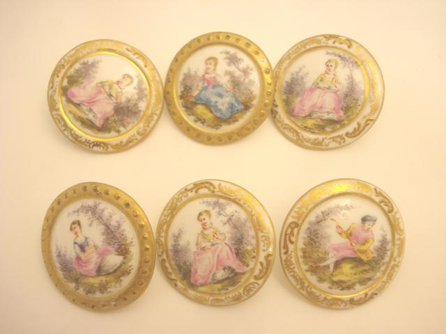 A collection of six Continental porcelain buttons Circa 1900