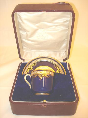 A Spode Copeland's white star line cup and saucer in a presentation case