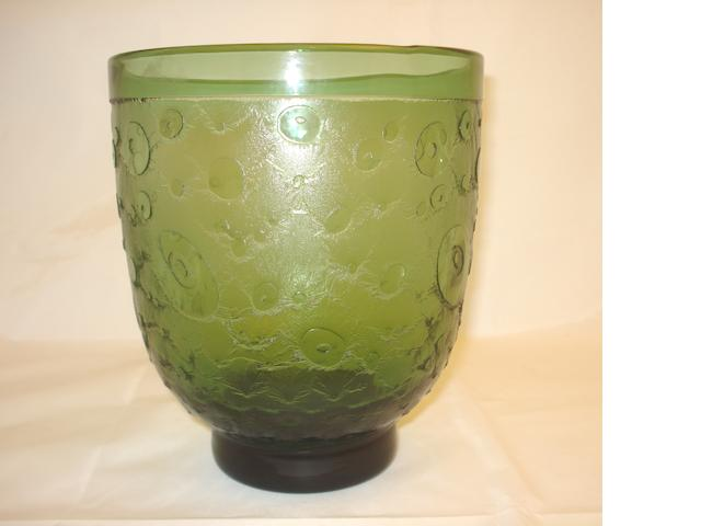 An acid etched green glass vase Circa 1930