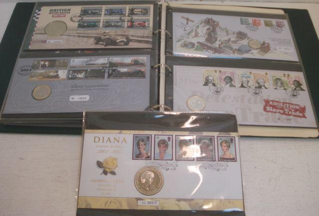 Stamps - a large collection of Great Britain and Commonwealth 'coin' 1st Day Covers, in six albums.