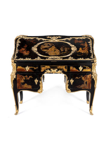 An important French 18th century Louis XV ormolu-mounted vernis Martin and Japanese lacquer Grand secrétaire en dos d'ânein the manner of Jacques Dubois, circa 1745, partially embellished by Beurdeley in the 19th century