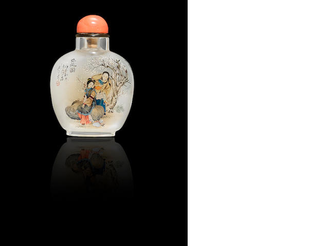 An inside-painted rock crystal 'Dream of the Red Chamber' snuff bottle Liu Shouben, dated 1996