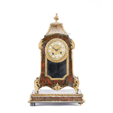 A late 19th century Boulle type tortoiseshell and brass mounted bracket clock by F.W. Bose, Dresden