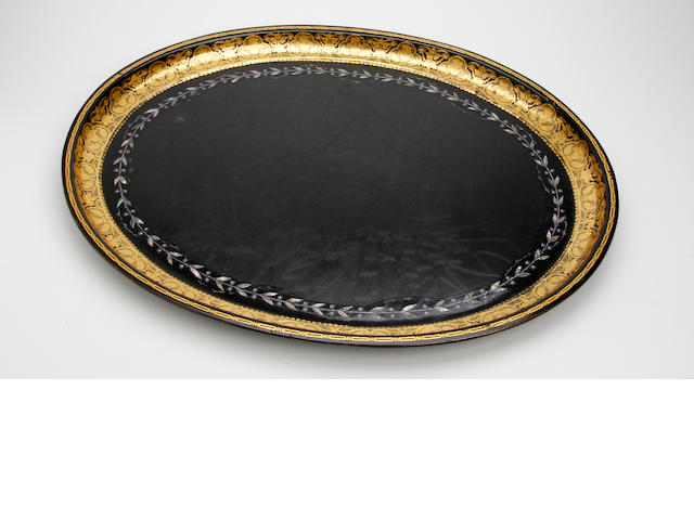 An early 19th century gilt-decorated and abalone-inlaid papier mâché tray