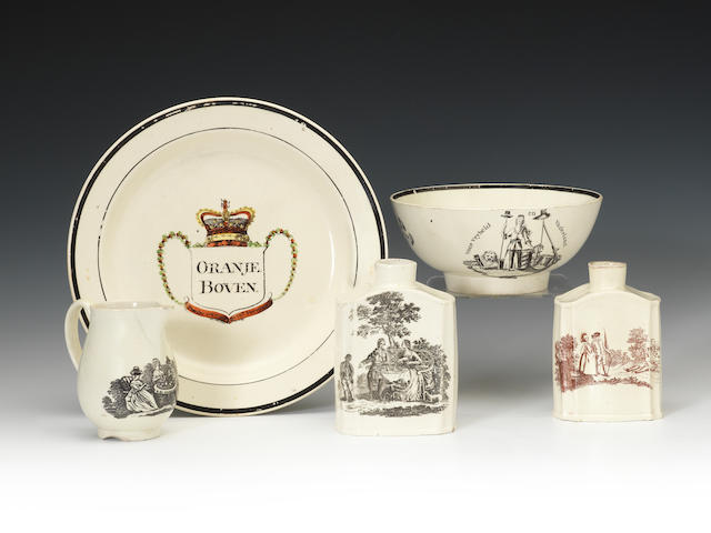 A group of creamware decorated with transfer print, circa 1775-1810