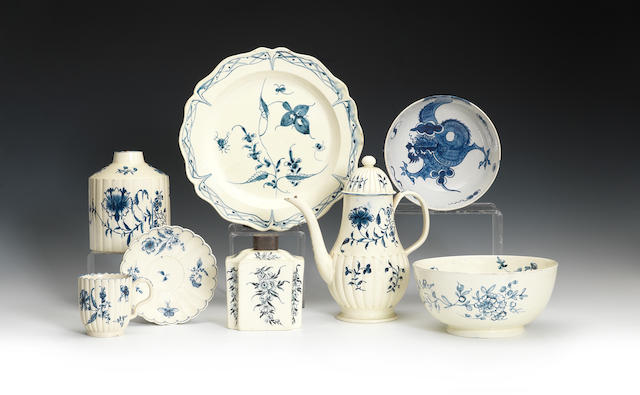 A group of creamware decorated in underglaze blue, circa 1775-90