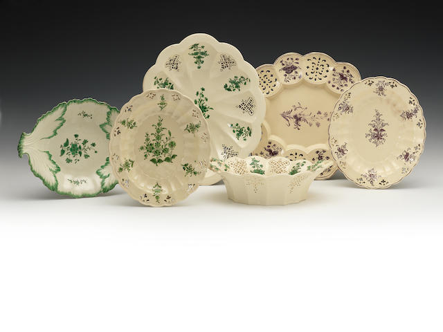 Varius items of creamware with green enamel