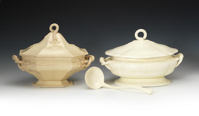 Two creamware soup tureens and covers, one with ladle, circa 1770