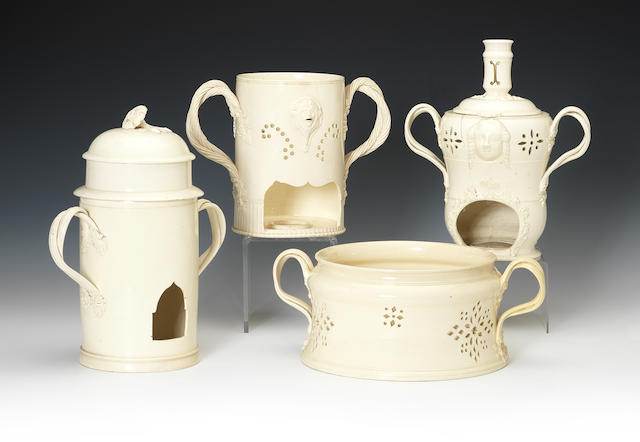 Six various creamware veilleuses and a food warmer, late 18th-early 19th century