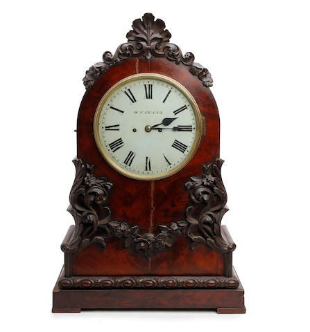 An imposing mid-19th century flame mahogany twin-fusee bracket clock W. F. Evans