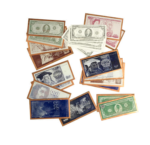 James Bond - Octopussy: A collection of prop copper backed currency printing plates, 1983,