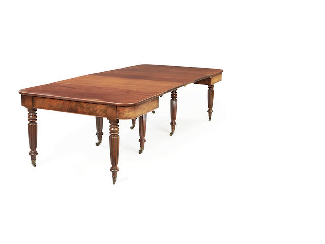 A George IV mahogany 'Imperial action' extending dining table