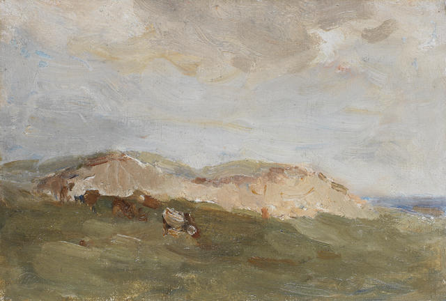 Nathaniel Hone, RHA (Irish, 1831-1917) Sheep resting in the shade; The sand dune; River landscape the largest 26 x 38cm (10 1/4 x 14 15/16in)