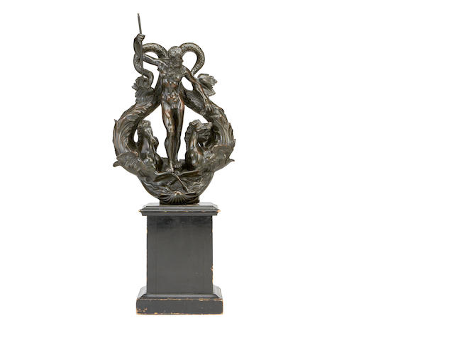After Alessandro Vittoria, Italian (1525-1608)  A 19th century bronze model of Neptune originally designed as a door knocker