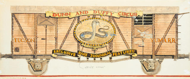 Indiana Jones and the Last Crusade: An original pre-production concept design,   1989, for the opening sequence 'Dunn and Duffy Circus' train,9