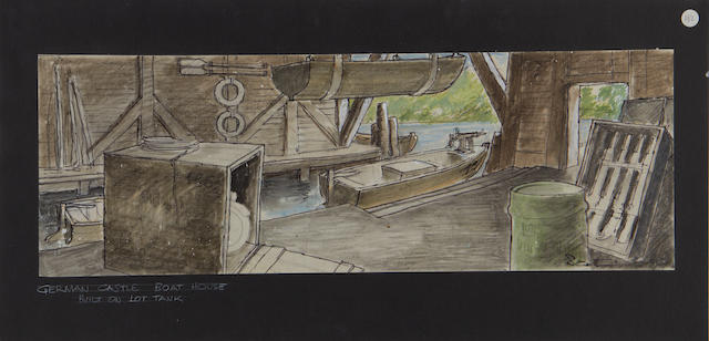 Indiana Jones and the Last Crusade: Three pre-production concept set designs by production designer Elliot Scott, 1989, all 'Castle Brunwald' related,