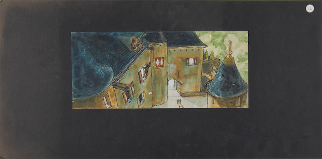 Indiana Jones and the Last Crusade: Two pre-production concept designs, 1989, all 'Castle Brunwald - Indy Swing' related, 2