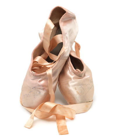 Margot Fonteyn: A pair of pink satin ballet shoes worn by Margot Fonteyn,
