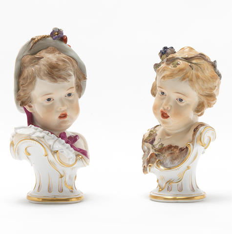 A pair of Meissen busts of children allegorical of the seasons, circa 1880