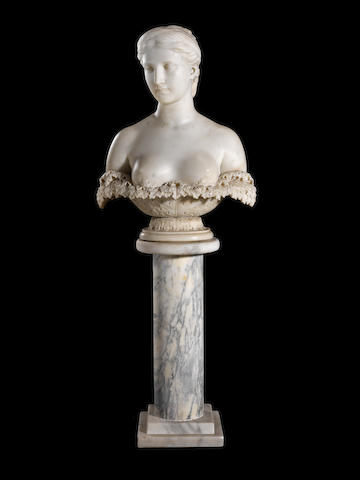Hiram Powers, American (1805-1873)  A marble bust of Proserpine