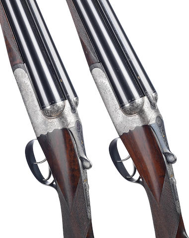 A pair of 12-bore detachable-boxlock ejector guns by Westley Richards, no. 17441/2 In a Westley-Richards brass-mounted oak and leather case