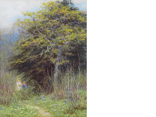 Helen Allingham, RWS (British, 1848-1926) In a Surrey copse (Brook, near Witley)
