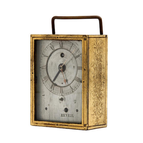 An early 19th century French gilt bronze travel alarm timepiece  Henry Marc, Paris