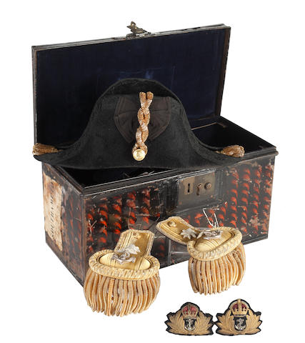 Royal Naval Officer's Full Dress Cocked Hat Epaulettes Waist Belt Cap Badges & Carrying Tin