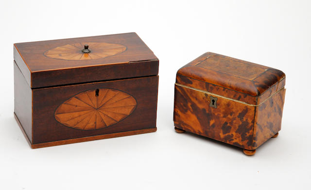 A George III mahogany and satinwood-inlaid tea caddy