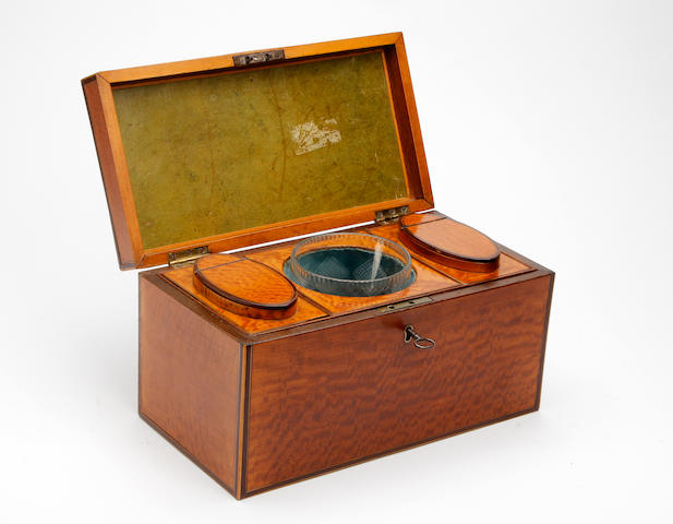 A late George III mahogany and satinwood tea caddy