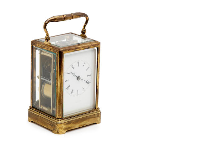 A 19th century French Grande Sonnorie gilt brass carriage clock with push repeat Drocourt, Paris