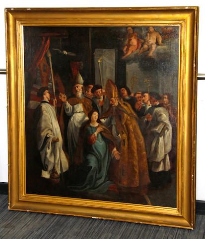 After Sir Peter Paul Rubens Blessing of a female saint